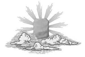 Le bloc d'alun darwin descendant des cieux