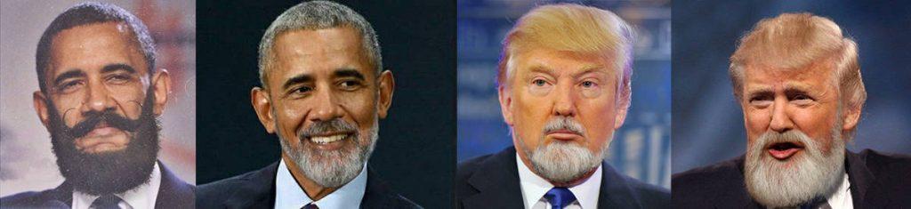 les présidents Barack Obama et Donald Trump s'ils portaient la barbe.